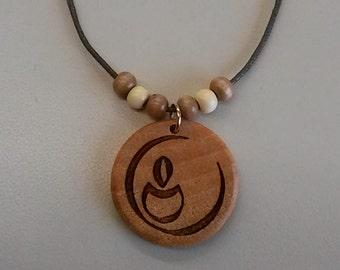 Custom Round UU Chalice Engraved Wood Necklace