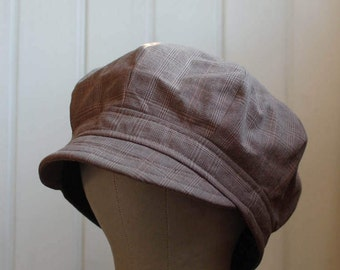 Daria XL: 8 panel cap in brown plaid, cabbie, lightweight newsboy hat, fishermans cap, slouchy hat, soft summer weight hat for men or women