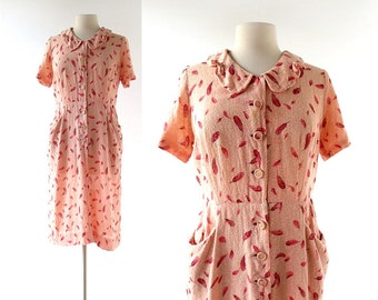 1950s Vintage Dress | Plume Rouge | Feather Print Dress | 50s Dress | Large L