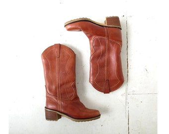 Vintage 1970s Boots | Campus Boots | Western Boots | Size 8