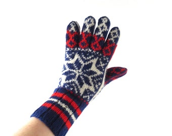 Vintage Nordic Gloves | Selbu | Wool Gloves | Size L