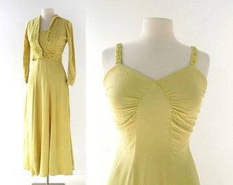 Vintage 30s Dress | Chartreuse Beaded Gown | 1930s Gown | With Jacket | XS