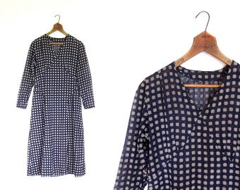 Vintage 20s Dress | Cross Hatch Print | 1920s Dress | Small S