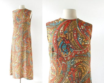 Vintage Maxi Dress | Sparkle Paisley Dress | 1960s Dress | Medium M