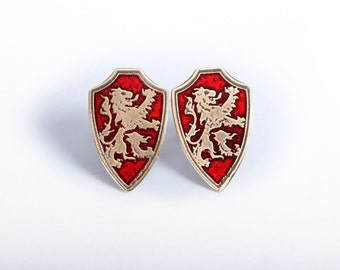 Brass or gold cufflinks with the lion rampant from heraldry or Scotland. Historical gift for the groom, boyfriend, dad, or him.