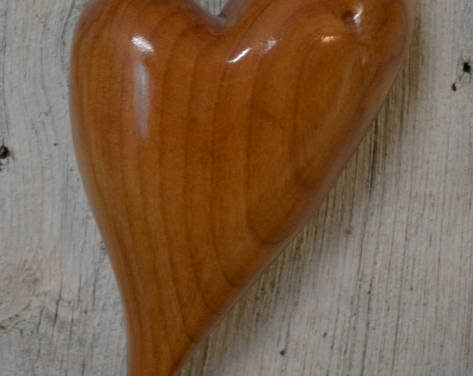 Heart Carving, Special Gift, 5th Year Wedding Anniversary, Natural Art, Alder, Beautiful Grain, Knot Hearts