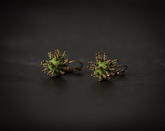 Unusual felted earrings in mossy green color tones with brass