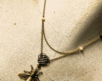 Steampunk Firefly Pendant, Chain Draped Necklace, Insect Jewelry, Free Shipping USA