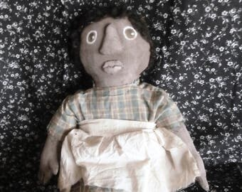 Handmade Primitive Folk Art Black Doll Little Wide Eyed  Neffie and Her Rabbit Jeffrey