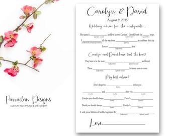 Wedding Mad Lib | Wedding Advice Cards | Printable | Digital | Elegant | FS17