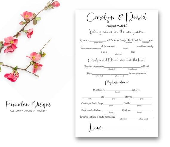 Wedding Mad Lib   Wedding Advice Cards   Printable   Digital   Elegant   FS17