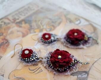 Red Rose earrings, Valentine lace earrings, Boho statement earrings, bead embroidery double drop flower earrings, long lightweight earrings
