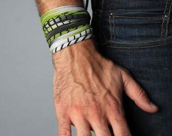 Green Bracelet, Cuff Bracelet, Boyfriend Gift, Gift for Men, Festival Clothing, Mens Gift, Mens Bracelet, Husband Gift, Gift for Boyfriend
