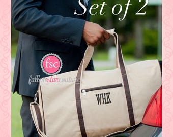 Set of 2 Personalized Men's Duffel, monogrammed Men's Weekender Bag , Groomsman Gift Duffel bag , Groomsmen gift bag, bridal party gift
