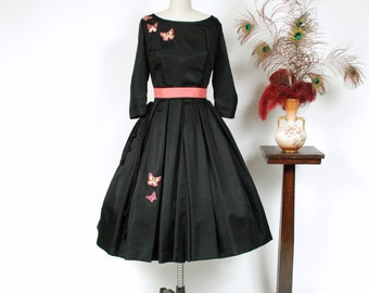 Vintage 1950s Dress - Fabulous Black Taffeta Beaded Butterflies Novelty 50s Party Dress with Full Pleated Skirt