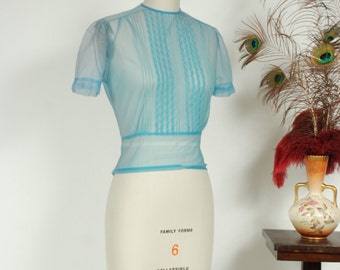 Vintage 1950s Blouse - Adorable Sky Blue Sheer Nylon Chiffon 50s Top with Pintucks and Scalloped Top Stitching