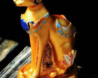 Gorgeous Gilded Vintage Golden Bastet Egyptian Cat Goddess Statue Gold Painted Winged Scarab Uraeus Lotus