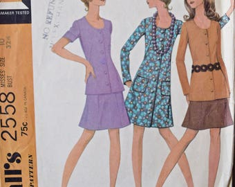 1970's McCall's 2558 Vintage Sewing Pattern Knit Jersey Dress, Top, and Skirt Long or Short Sleeves Patch Pockets Vintage Size 10 Bust 32.5""