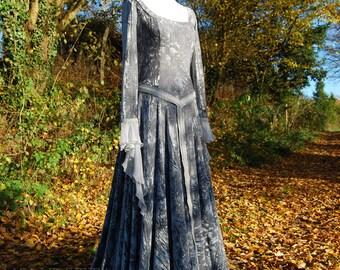 Viking dress Woodland Wedding Celtic Pagan Handfasting Small-XLrg Silver Grey