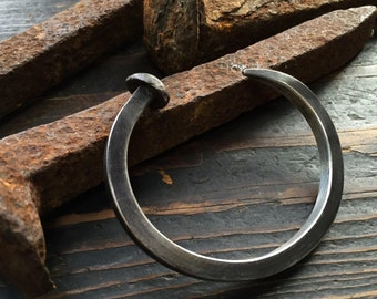 Sterling Silver RailRoad Spike Cuff Bracelet - Mens Jewelry - Rugged, Rustic, Masculine