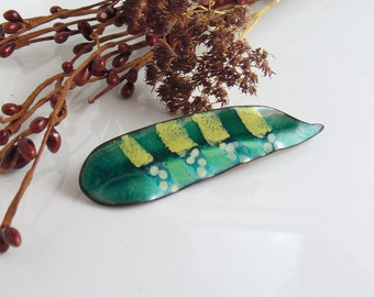Teal Leaf with Yellow Stripes Lapel Pin, Copper Enamel Art Pin, Enameled Brooch, Leaf Jewelry, Bright Colors, WillOaks Studio Flora Series