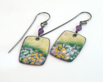 Blooming Meadow Copper Enamel Earrings, Dangles Yellow White Lavender Greens Accents, Vitreous Enamel Original Art Jewelry, WillOaks Studio