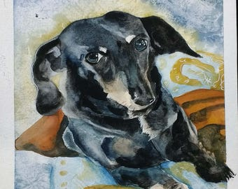 Photo to Art custom pet portrait dog art weiner dog original painting realistic watercolor painting housewarming sympathy birthday Christmas