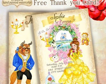 Hand Drawn Beauty and The Beast Invitation 5x7inches, Birthday Party Invitation, Beauty and The Beast Birthday Party, Printable Invitation