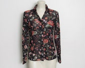 Vintage 1970s Sheer Button-down Shirt / Long sleeved Black & Floral Print Top w/ Butterfly Collar / 70s Disco Shirt