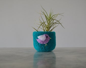 felt wool bowl - turquoise wool bowl with lavender and white bird - nature inspired - catch all - felted wool bowl by the Felterie