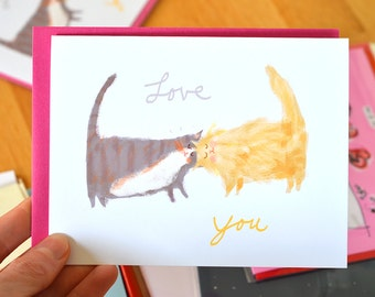 Love You Headbutt Cat Card - Cat Lover - Love Cats