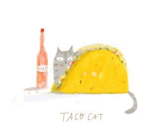 Taco Cat Print - Funny Cat Art - Summer Art- Cat Painting - Cat Dad - Foodie