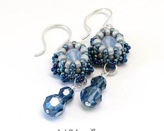 Mini Crown Beaded Earrings Sterling Silver Wire Blue Jeans