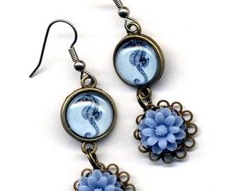 Sea Horse Earrings, Gold Blue Earrings, Nature Lover Earrings, Blue Earrings, Surgical Steel Earrings, Nautical Earrings, Handmade by Anna