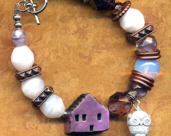 Purple and White Chunky Bracelet, Purple House Cooper Bracelet, One of a Kind Owl Statement Porcelain Bracelet, Home Sweet Home Bracelet
