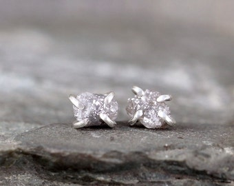 Uncut Diamond Earrings -  1 Carat - Sterling Silver Stud Earring - April Birthstone - Rough Raw Diamond Gemstone Earring - Made in Canada