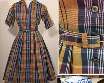 1950s Navy, White, Gold and Rust Plaid Cotton Vintage Dress SZ S/M