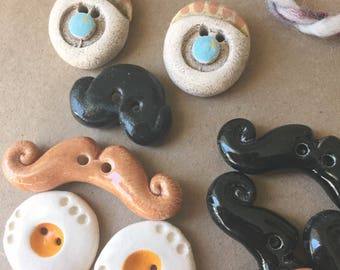 SALE - Lot of Buttons - Handmade Ceramic Buttons - Faces