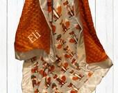Fox Baby Blanket, Fox Minky Baby Blanket, Woodland Animal, Fox Theme Nursery, Orange Gray Blanket, Embroidered Blanket, Personalized Blanket