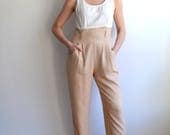 Vintage Minimalist Jumpsuit/ White + Sand Pocket Romper/ Size Medium