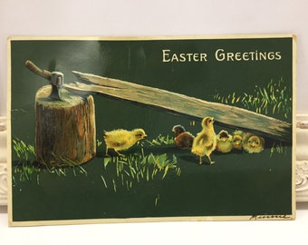Vintage Easter Postcard, Vintage Postcard, Easter Card, Easter Ephemera, Easter Greetings, Yellow Baby Chicks, Ax in a Log, Eating Grass