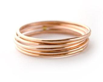 Rose Gold Skinny Ring Set of 5, Ring Threads, Stackable Midi Ring