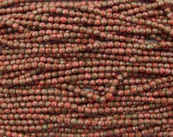 GORGEOUS 4mm Faceted Opaque Coral Picasso Firepolish Czech Glass Beads - Qty 50 (DW59)
