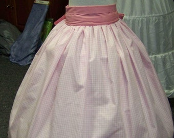 SALE Child's Colonial,Civil War,Victorian,costume Long drawstring SKIRT pink and white checked cotton,Handmade