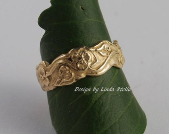 Wedding Band Flower Garden 14K Gold, 7mm or 5mm leaves flowers all around curvy edge ring women's