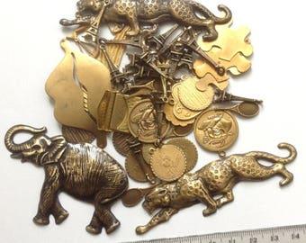 Grab Bag Brass Stampings, Antiqued brass Pendants, brass Charms, golden brass charms, brass pendants, Grab Bag #16