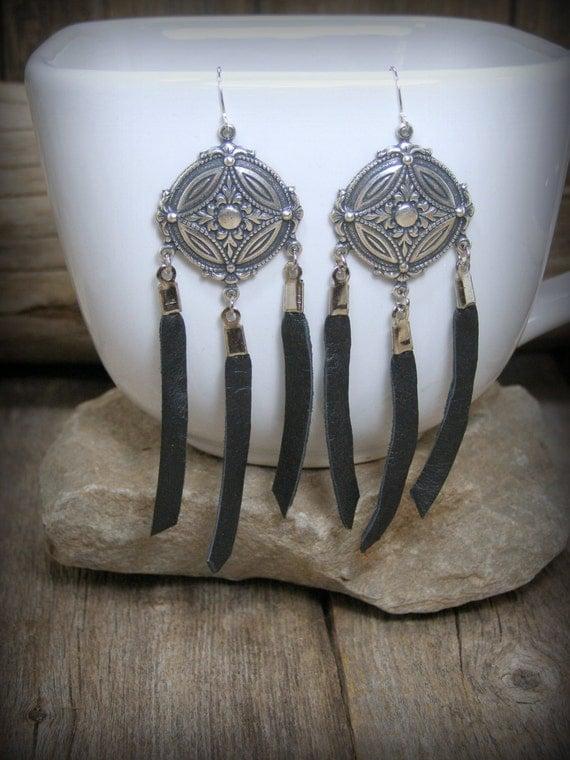 silver earrings, leather earrings, chandelier earrings, native american, tribal shield, bohemian earrings, boho jewelry, fringe earrings