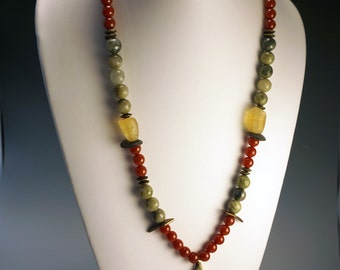 Long Beaded Necklace   Long Boho Necklace   Red Carnelian and Green Jade Necklace   Buddha Amulet Medallion Necklace