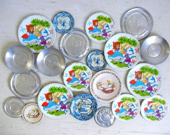 21 Tin Toy Plates Saucers | Creative Playthings | Nursery Rhymes | Children's Dishes | Doll Dishes | Instant Collection