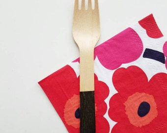 Dipped Black Color block Wooden Utensils
